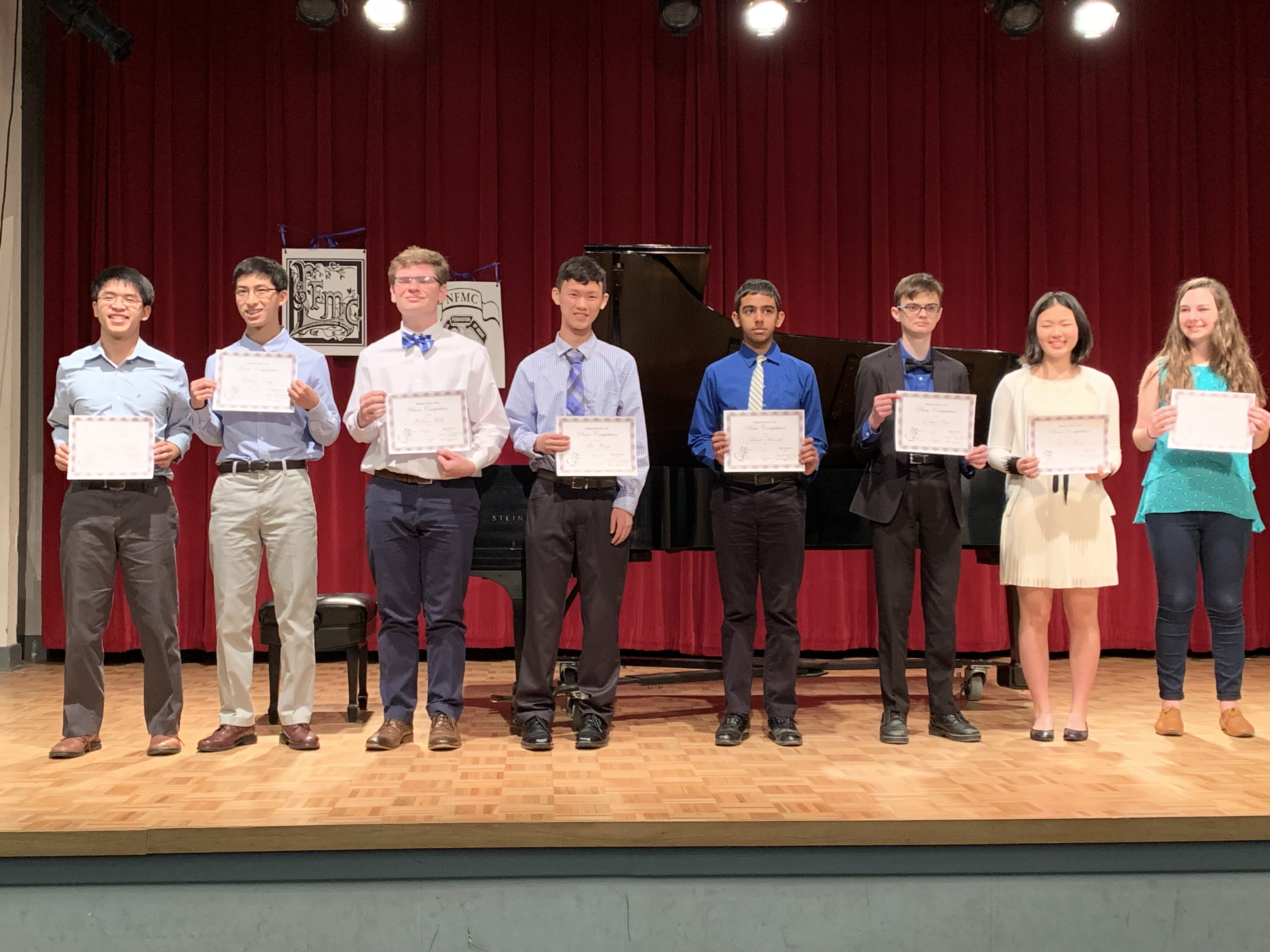 2019 High School Piano Competition participants